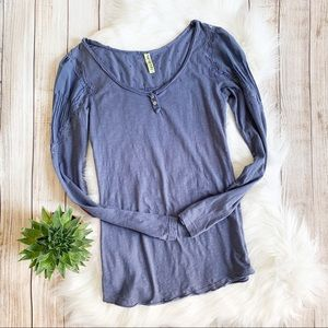 Free People Blue Long Sleeve Top